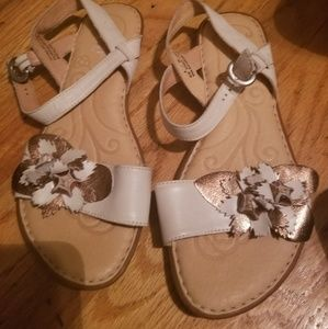 White and rose gold leather born sandals